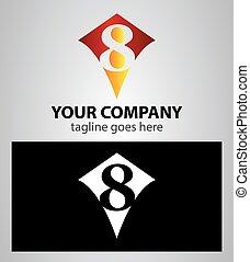 8, número, logotipo, oito, ícone, desenho