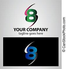 8, numere um, ícone, logotipo, desenho