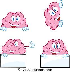 9, cérebro, caricatura, cobrança, mascote