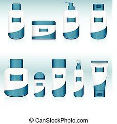 9, containers., jogo, cosmético