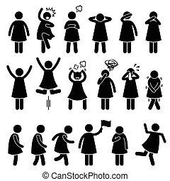 ação, mulher, poses, posturas