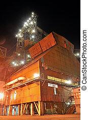 aço, indústria, noturna