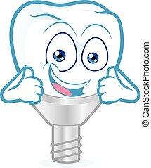 abandone, dente, polegares, implante, dois