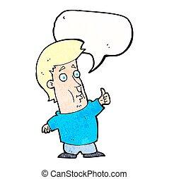 abandone, sinal, fala, polegares, bolha, caricatura, homem