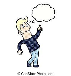 abandone, sinal, pensamento, polegares, bolha, caricatura, homem