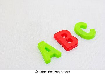abc, alfabeto, aprendizagem, stady, branca, escola, inglês, coloridos, letras, experiência.
