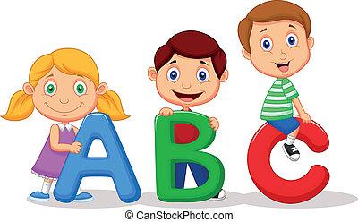 abc, caricatura, alfabeto, crianças