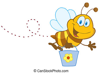 abelha, personagem, balde, caricatura, voando