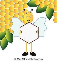 abelha, tábua, segurando, sinal