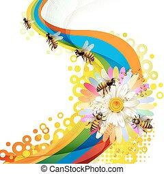 abelhas, coloridos, fundo, sobre