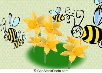 abelhas, flores