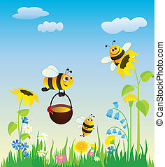 abelhas, prado