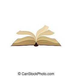 aberta, ilustração, livro, vetorial, fundo, branca, vibrar, páginas