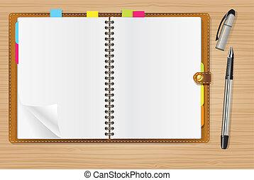 abertos, caneta, diário