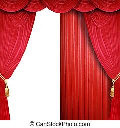 abertos, fase, metade, teatro