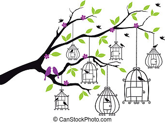 abertos, vetorial, árvore, birdcages