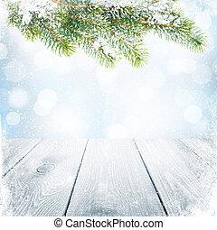 abeto, árvore inverno, neve, fundo, natal