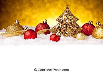 abeto, dourado, ouro, árvore, decoração, ornamentos, natal, vermelho