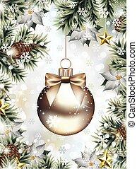 abeto, snowflakes, queda, ramos, ornamento natal