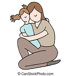 abraçando, filha, jovem, dela, mãe