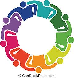 abraço, grupo, pessoas, trabalho equipe, 9, logotipo