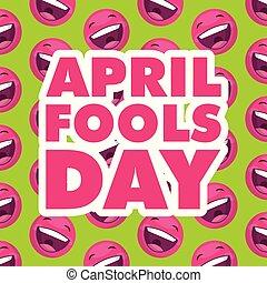 abril, fools, cartão, dia
