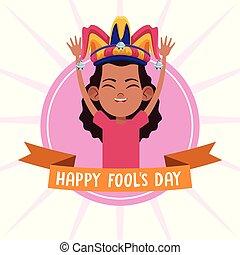abril, fools, desenhos animados, dia