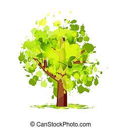 abstrato verde, árvore, seu, desenho
