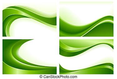 abstrato verde, fundos, 4, onda