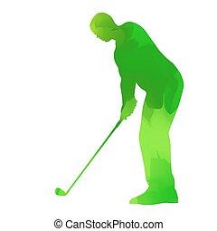 abstrato verde, jogador golfe