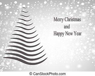 abstratos, árvore, cartão natal