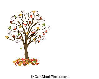 abstratos, árvore, ilustração, outono, vetorial, folhas