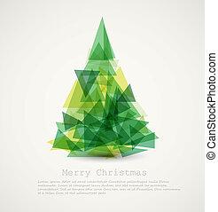 abstratos, árvore, vetorial, verde, cartão natal