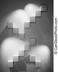 abstratos, cubos, escadas