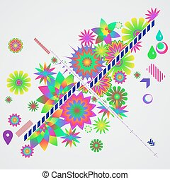 abstratos, diferente, fundo, floral, elements., desenho