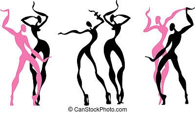 abstratos, figuras, dançar