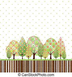 abstratos, flor, árvore, springtime, coloridos