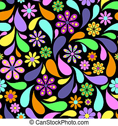 abstratos, flor, experiência preta