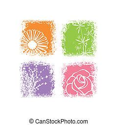 abstratos, flor, fundo, coloridos, branca