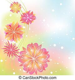 abstratos, flor, springtime, coloridos