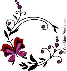 abstratos, flores, borboletas, vermelho, -2