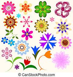 abstratos, flores, cobrança, (vector)