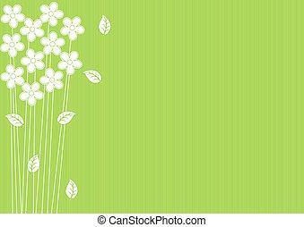 abstratos, flores, experiência verde