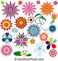 abstratos, flores, (vector, cobrança