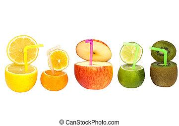 abstratos, fruta, drink., coloridos