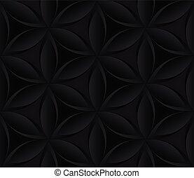 abstratos, fundo, flor, pattern., seamless, pretas, floral, repetindo, escuro