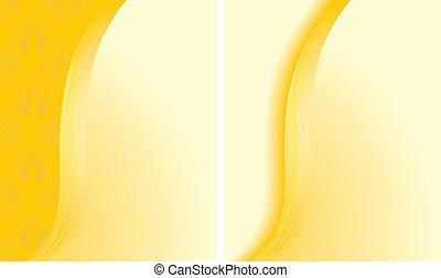 abstratos, fundos, dois, amarela