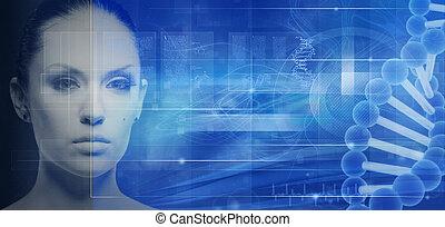 abstratos, fundos, engenharia, genético, desenho, biotecnologia, seu