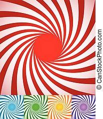 abstratos, girar, lines., fundos, spirally, radial, torcido