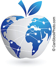 abstratos, -, global, maçã, tecnologia, vila